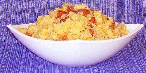Диетическая каша из пшеничной крупы с овощами и пармезаном