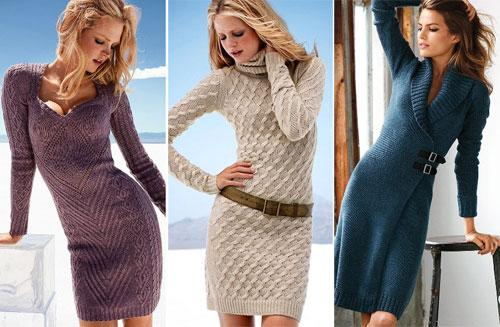 Модели вязаных тёплых платьев