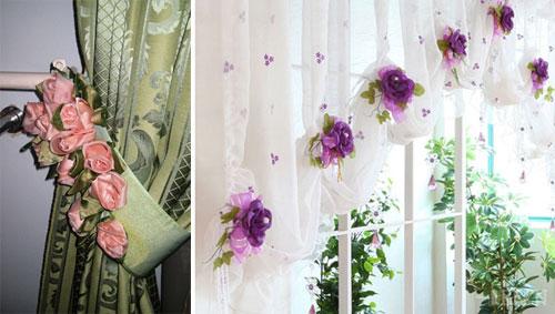 красивые цветы на шторах