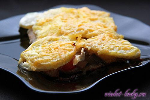 картофель с мясом под сыром