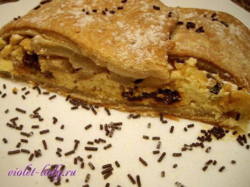 Пирог: слоеное тесто с творогом