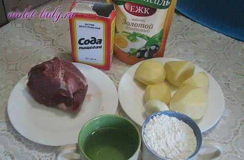 ингредиенты для пирога с мясом и картофелем