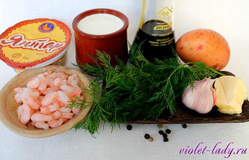 Ингредиенты для супа с креветками