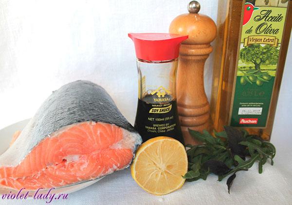 Ингредиенты для приготовления печеного лосося