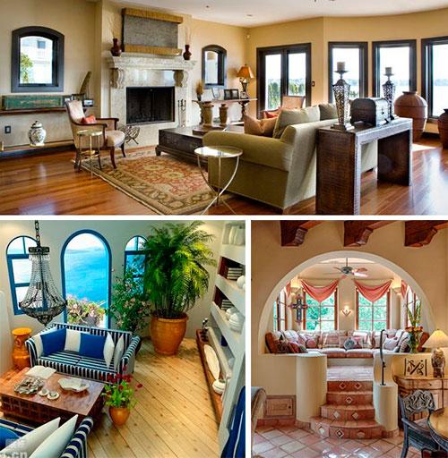 Средиземноморский стиль в интерьере гостинной