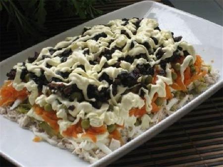 салат с черносливом не слоями рецепты
